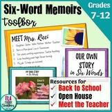 Back to School/Meet the Teacher Writing Activity: Six-Word