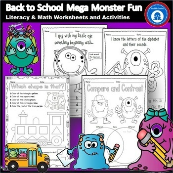 Back to School Mega Monster Fun - Literacy and Math