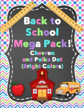 Back to School - Chevron and Polka Dots (Bright Colors)
