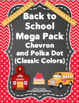Back to School - Chevron and Polka Dots (Classic Colors)