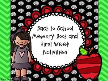 Back to School Memory Book and First Week Activities