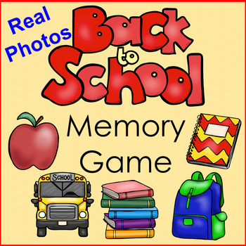 Back to School Memory Game with REAL pictures