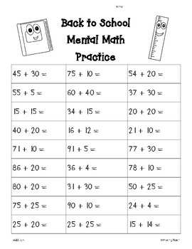 back to school mental math addition worksheet by 4 little baers tpt. Black Bedroom Furniture Sets. Home Design Ideas
