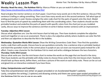 The Rainbow Fish Back to School Mentor Text Lesson Plans