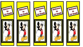 Back to School Mickey Bookmarks Welcome to First Grade