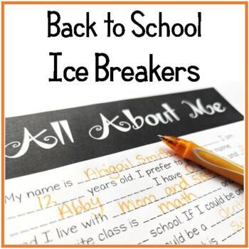 Back to School Middle School Activities (Ice Breakers)