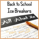 Back to School Middle School Activities (Ice Breakers)