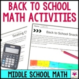 Back to School Middle School Math Activities