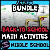 Middle School Math Back to School Math Activities BUNDLE