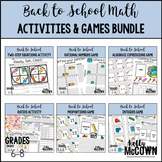 Back to School Middle School Math Activities & Games BUNDLE