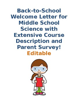 Back-to-School Middle School Science Welcome Letter with Parent Survey- Editable