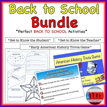 Back to School Middle and High School Activities by