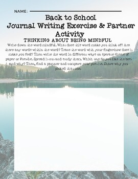 Back to School Mindful Journaling and Partner Activity