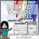 Back to School Mini-Activity Pack / Editable Bingo Cards