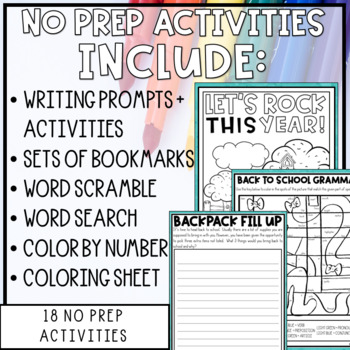 Back to School Activity Pack with Editable Bingo Cards
