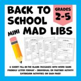 Back to School Mini Mad Libs (Six Short Fill-in-the-Blank