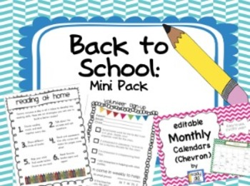 Back to School Mini Pack: Reading Tips, Volunteer Sign Up, Calendars