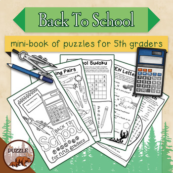 Back to School Mini Puzzle Book for Fifth Graders