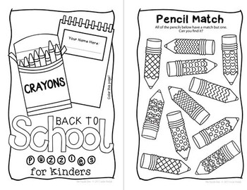 Back to School Mini Puzzle Book for Kinders