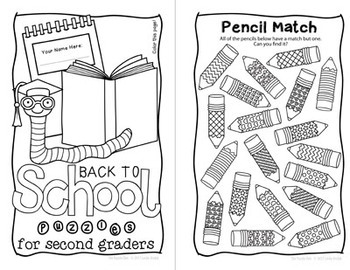 Back to School Mini Puzzle Book for Second Graders