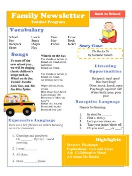 Back to School Mini-Unit for Early Intervention and Toddler Programs