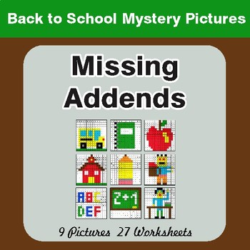 Back to School: Missing Addends - Color-By-Number Mystery Pictures