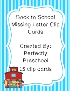 Back to School Missing Letter Clip Cards