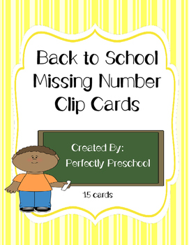 Back to School Missing Number Clip Cards