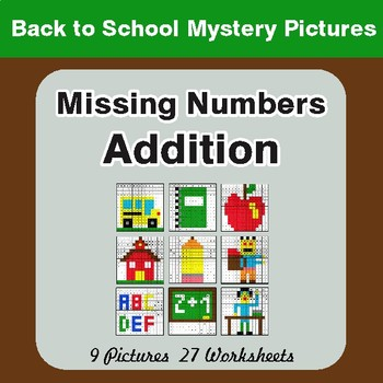 Back to School: Missing Numbers Addition - Color-By-Number Mystery Pictures