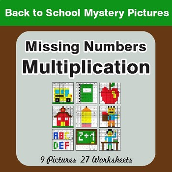 Back to School: Missing Numbers Multiplication Color-By-Number Math Mystery Pictures