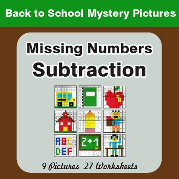 Back to School: Missing Numbers Subtraction - Color-By-Number Mystery Pictures