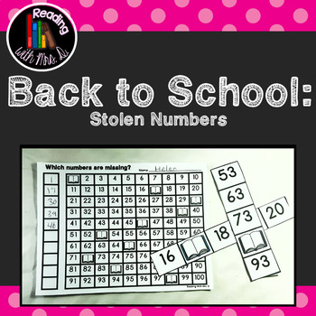 Back to School Missing/Stolen Numbers Cards and Worksheets