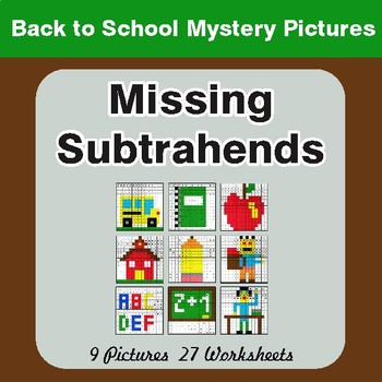 Back to School: Missing Subtrahends - Color-By-Number Math Mystery Pictures