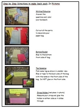 """Back to School- """"Mon Sac a Dos""""-Paperbag FUN Activities in French!"""