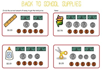 Back to School:  Money, Math, Addition, Worksheets, Mini Lesson
