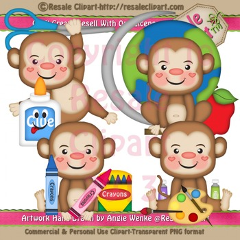 Back to School Monkey Boys ClipArt - Commercial Use