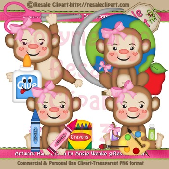 Back to School Monkey Girls ClipArt - Commercial Use