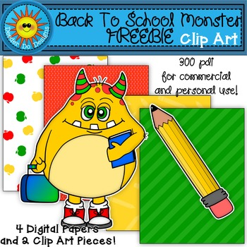 Back to School Monster Clip Art FREEBIE!