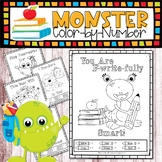 Back-to-School Monster Color-by-Number - Kindergarten Math