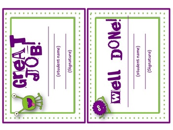 Back to School: Monster Themed Behavior Punch Cards (and other forms)