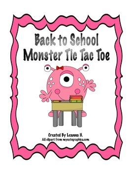 Back to School: Monster Tic Tac Toe
