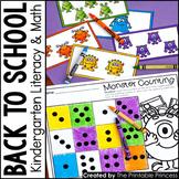 Kindergarten Monster Theme Centers | Math and Literacy Activities