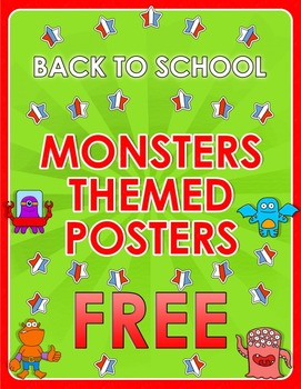 Back to School - Monsters Themed Posters - FREE