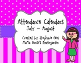 Back to School Monthly Attendance Calendars/Forms