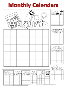 Back to School Monthly Calendars