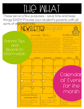 Newsletter Template EDITABLE - Monthly Newsletter & Calendar with Parent Chat!