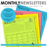 Newsletter Template - EDITABLE - Monthly Newsletter & Cale