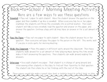 Back to School / Morning Meeting Activity