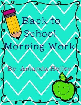 Back to School Morning Work