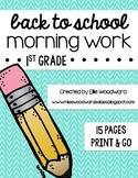 Back to School Morning Work- 1st Grade